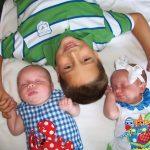 Twins Adalyn Elise and Emmett Darrell Enloe, with big brother Dawson
