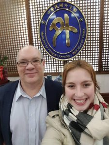 Don Rodgers and Lindsey Womack pose during a January class visit to the Republic of China Ministry of Foreign Affairs.