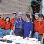 The annual backyard Garden Party was a staple during President Harry Smith's years. The Student Development Board leadership, pictured with President Smith and Etta, could be counted on for lots of assistance.