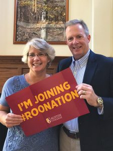 Steven and Cece O'Day urge newly admitted members of the Class of 2022 to post their plans to join 'RooNation to social media. The timing seemed perfect for the new president and first lady, who were just arriving on campus themselves.