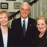 Distinguished visitors to the President's Home are a common occurrence. President Oscar C. Page and Anna Laura pose with Madeleine Albright, the College's Chair of Excellence in International Leadership in 2002.