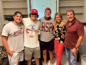 Josh Magers, son of Angela Magers MAT '98 and Bill Magers '85 Brothers are Zachary '21 (far left) and Kennon '23 (middle)